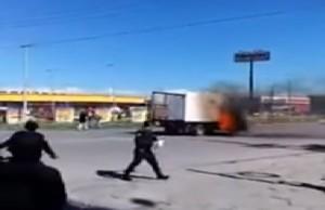 queman camión en Juárez